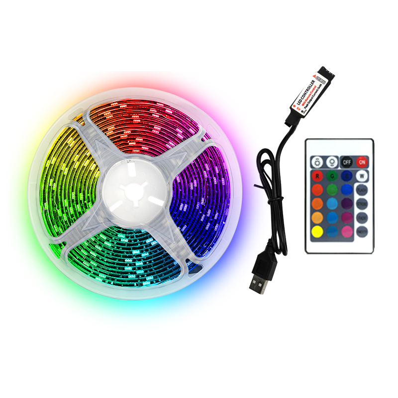 LED manufacturer supply 5m rgb led strip light kit 5v colorful power usb led strip for room decoration