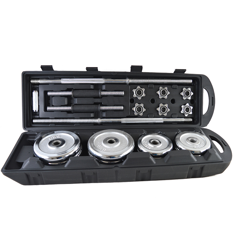Weight Lifting Adjustable Cast Iron Chrome Dumbbell Set