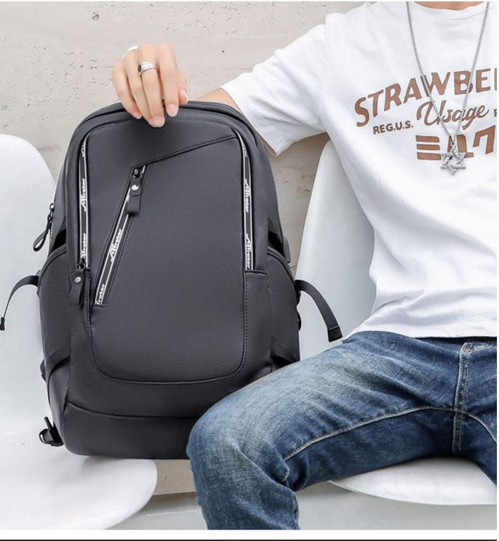 PU Leather Fashion Backpack Bag School Laptop Men Backpack