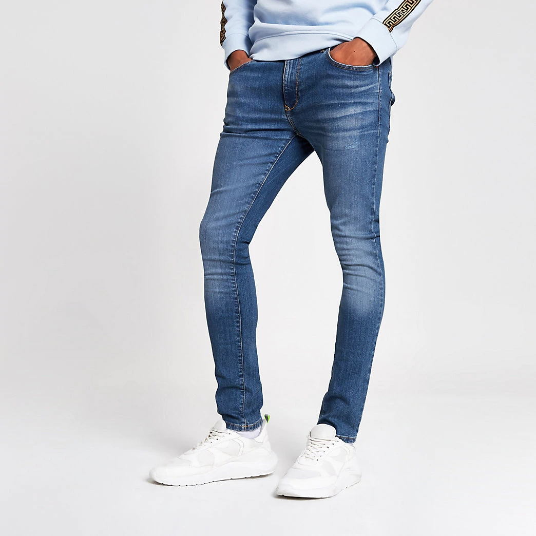 New Products Blue Stretch Denim Super Skinny Fit Zip Fastening Men Jeans Pants