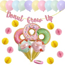 donut party supplies donut grow up glitter banner doughnut Mylar Foil and Latex Balloons Donut Birthday Party Decorations Kit