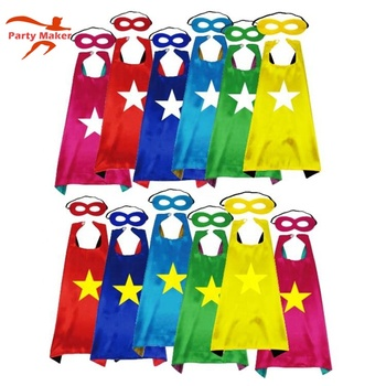 Free Sample 70*70cm kids cosplay costumes Children's birthday party Halloween cosplay Kids Superhero capes and masks set