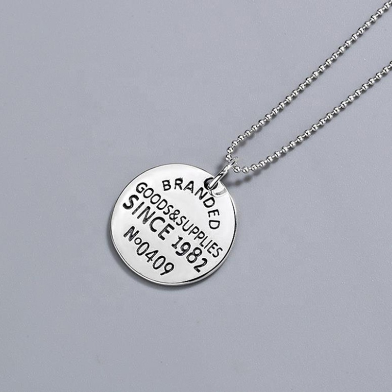 product-925 Sterling Silver English Letter Round Tag Necklace Personality-BEYALY-img