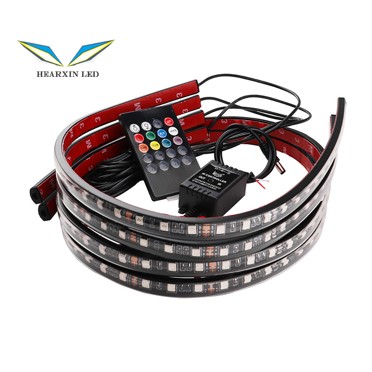 Car Underglow Flexible Strip LED RGB Underglow Decorative Atmosphere Lamp APP/Remote voice Control Underbody System Neon Light