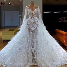 Белое роскошное платье знаменитости 2020, длинное официальное вечернее платье с перьями, великолепное турецкое платье от кутюр Дубай Выпускн...(China)