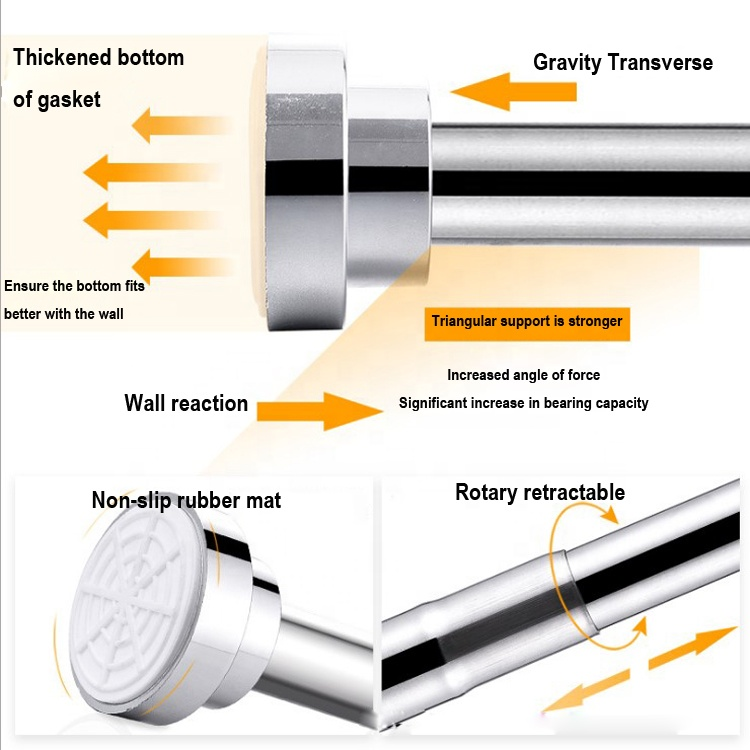 Factory adjustable Stainless Steel extendable Telescopic Tension Rod Rail Clothes Towels shower Curtains track Poles Rods