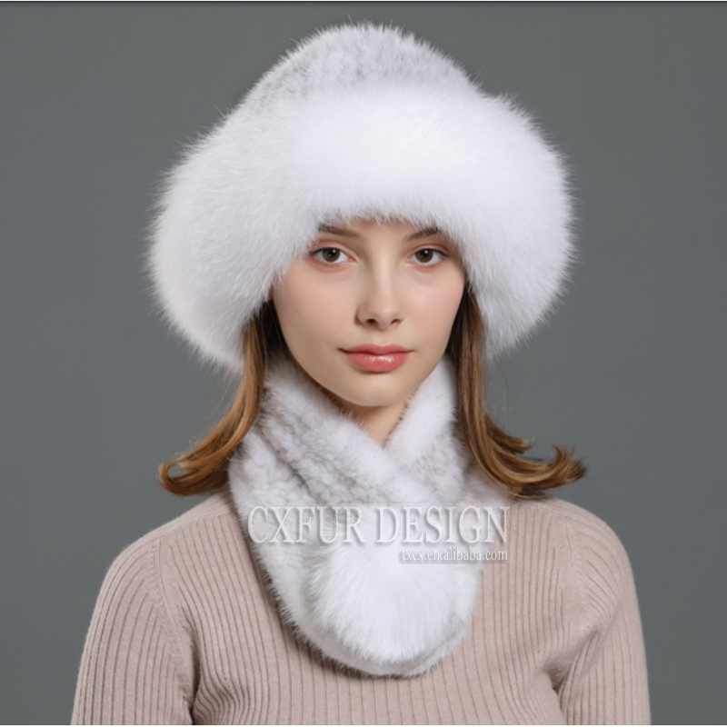 CX-C-99E Winter Warm Scarf and Hats Genuine Mink Fur Knitted Beanie Hat with Fox Around
