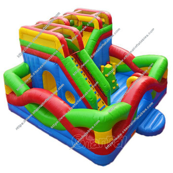 Interactive equipment Game kids play game obstacle slide bouncy house land park inflatable jumping castle inflatable playground
