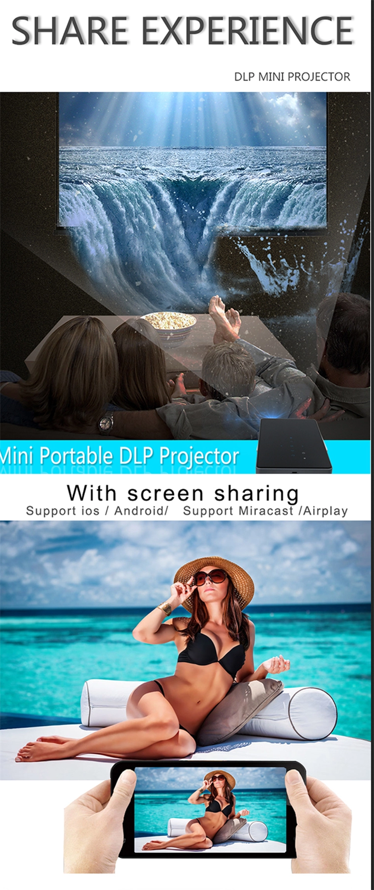 Low price good performance 1080p home use smart wifi android projector with wifi dlp mini projector