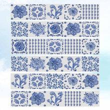 """6 шт. синяя и белая наклейка в фарфоровом стиле """"Лестница"""" самоклеящаяся Водонепроницаемая лестница обои для домашнего декора коридора DIY Stai(Китай)"""