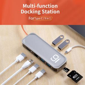 ROCK 9 in 1 Multifunctional For Type-C Converter Hub to 1 Ports For Type-C and 2 Ports USB3.0 Multi-Functional Docking Station