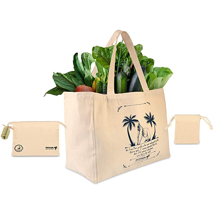 Large custom logo reusable 100% organic eco friendly grocery vegetables packing natural cotton canvas tote shopping bag