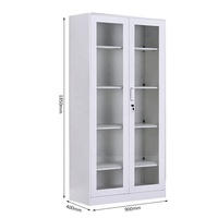 High quality office steel filing cabinet with glass door