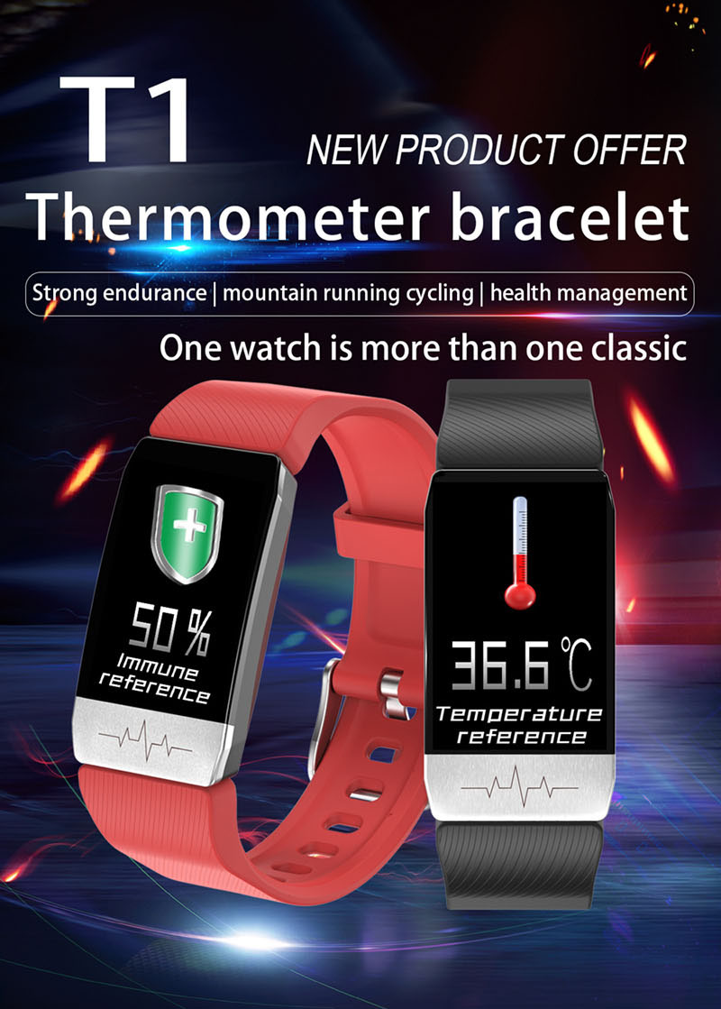 New Arrivals 2020 T1 Body Temperature Measurement Smart Watch Thermometer Watch With ECG Smart Health Monitor Sports Smartwatch