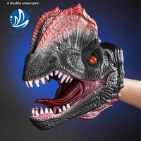 Bemay Toy Professional Jurassic World Soft Rubber Animal Glove Triceratops Finger Dinosaur Costume Hand Puppet