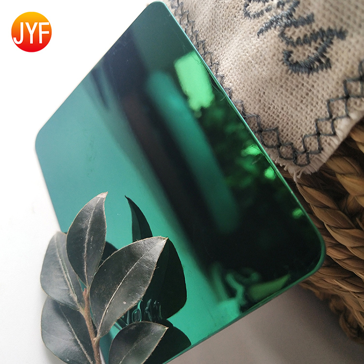 jyf21 8K Mirror green color stainless steel sheets 304 for decor panel