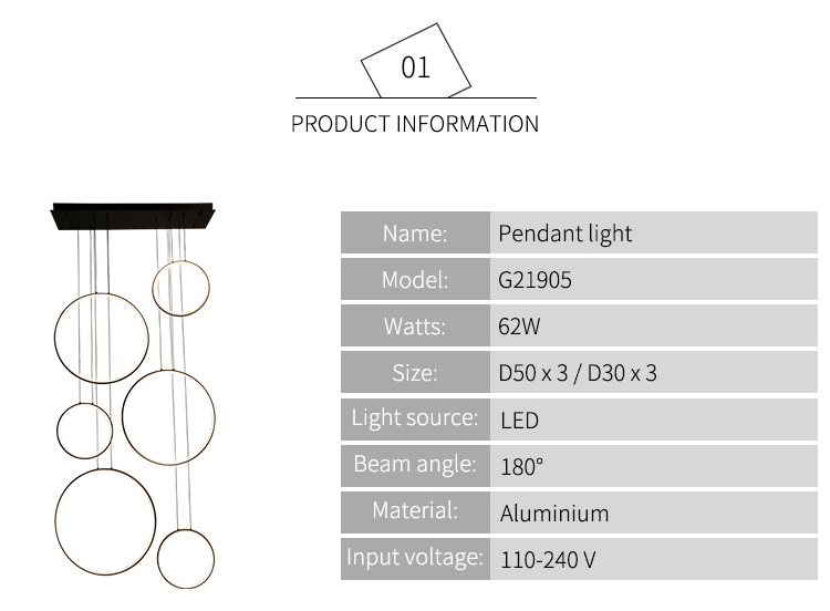 Hậu hiện đại tùy chỉnh kim loại vòng trang trí trong nhà khách sạn khu dân cư LED vòng tuyến tính treo đèn ánh sáng mặt dây chuyền