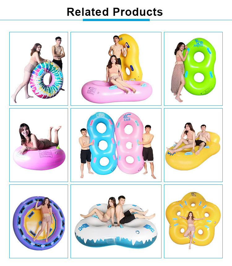 Heavy-duty towable pvc inflatable swimming tube , plastic double water slide tube