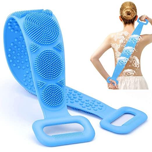 Exfoliator Massage Double Sided Skin Scrubbing Strap Towel Back Washer Body Brush Long Back Silicone bath Scrubber