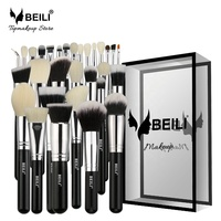 BEILI Black Professional Cosmetic Brushes Natural Goat Hair Foundation Powder Concealer Contour Eyes Blending Makeup Brush Set