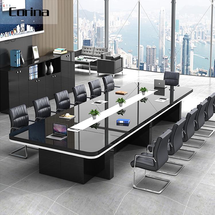 Зала от китайского поставщика черный глянец столов в переговорной современный офисный OEM столов в переговорной стол для совещаний