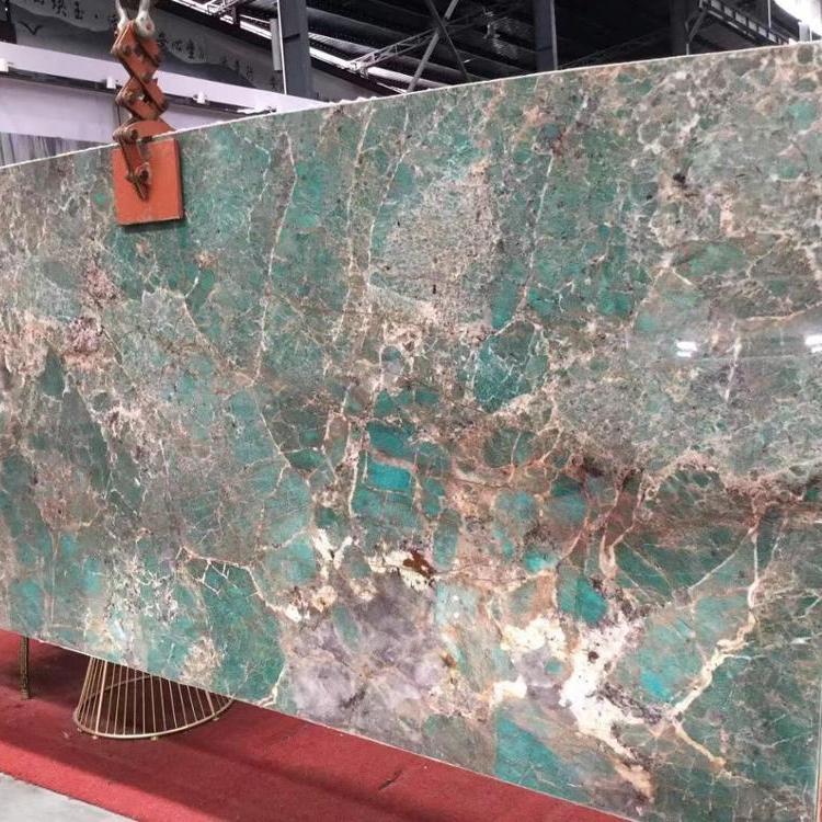 Amazonite turquoise green granite natural stone big slabs