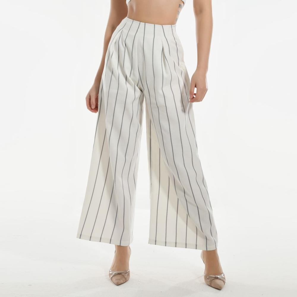 2020 nouveau printemps et d'été des femmes de neuf points rayé pantalon à jambes larges