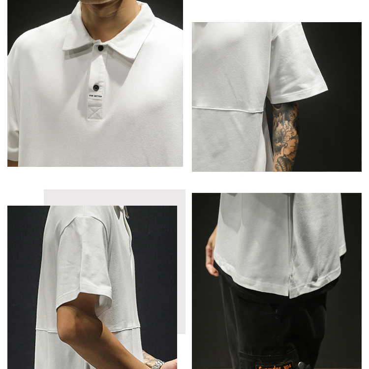 Summer Men Loose Polo Shirt Top Male Polos Short Sleeve Turn down Neck Sport Tops Casual Tees