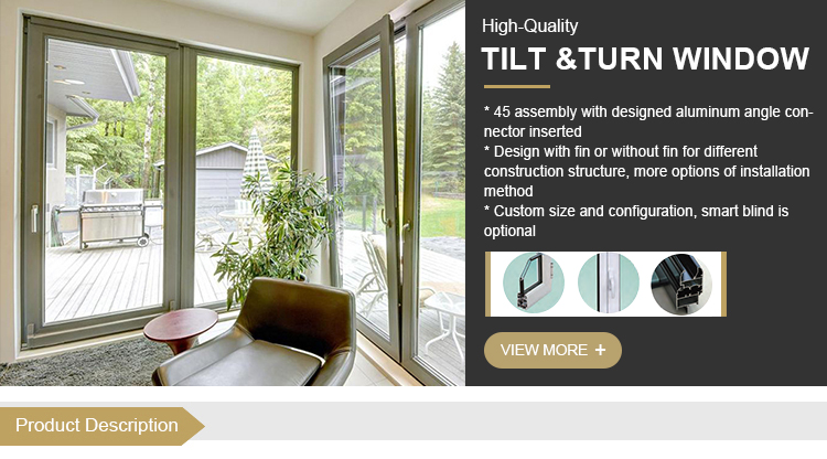 Luxury European style Powder Coated Aluminium Frame Durable soundproof tilt and turn windows for India Market