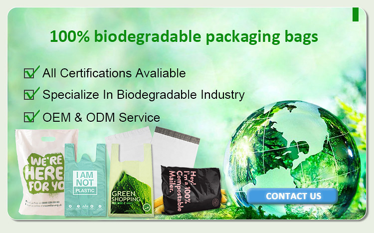 Factory Wholesale PE/LDPE 100% Biodegradable Cornstarch Potato Starh Custom Printing Shopping compost plastic Bags With Own Logo