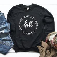 Осенняя Женская толстовка эстетические тыквы Hayrides пуловер костры Падающие листья девушка Джемперы уличная мягкая одежда Прямая поставка(China)