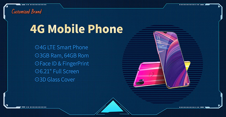 "2020 new 6.2"" Full screen Smartphone 4G LTE Android MobilePhone with Fingerprint Face ID 3D curved Glass cover"