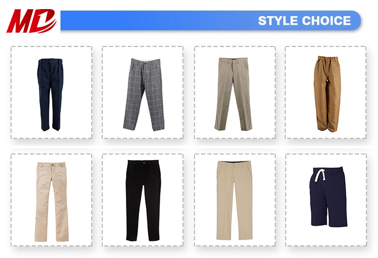 Custom Design Multicolor School Uniform Pants Waist Elastic Band