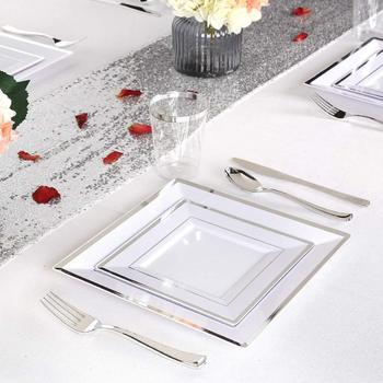 Elegant Disposable Plastic Plates Outdoor Use For Weddings
