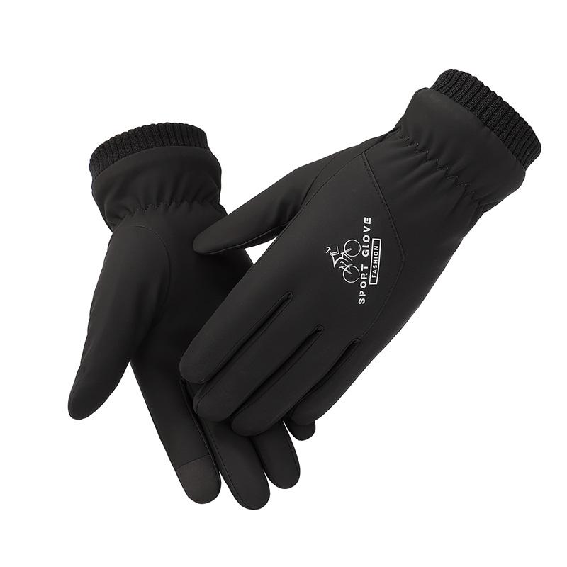 Custom logo slight waterproof fleece touch screen winter men bicycle gloves