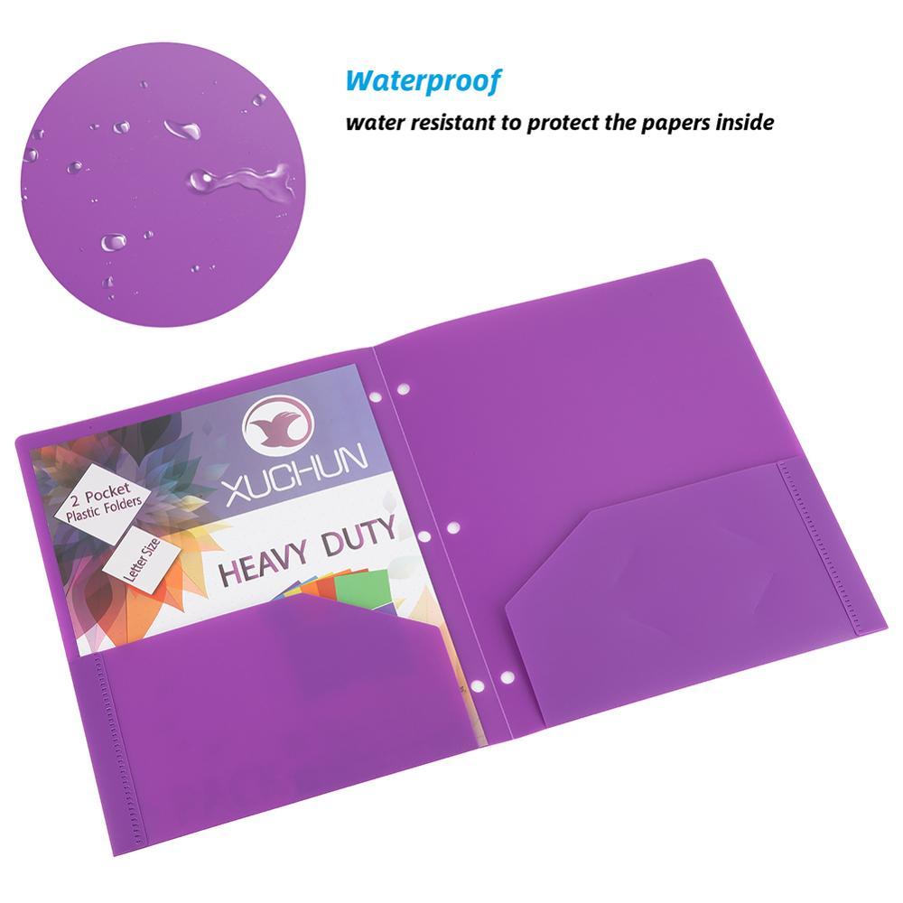 XUCHUN Heavy Duty Plastic Folder 2 Pocket School Folders - Assorted Fashion Colors Customized Other Filling Product