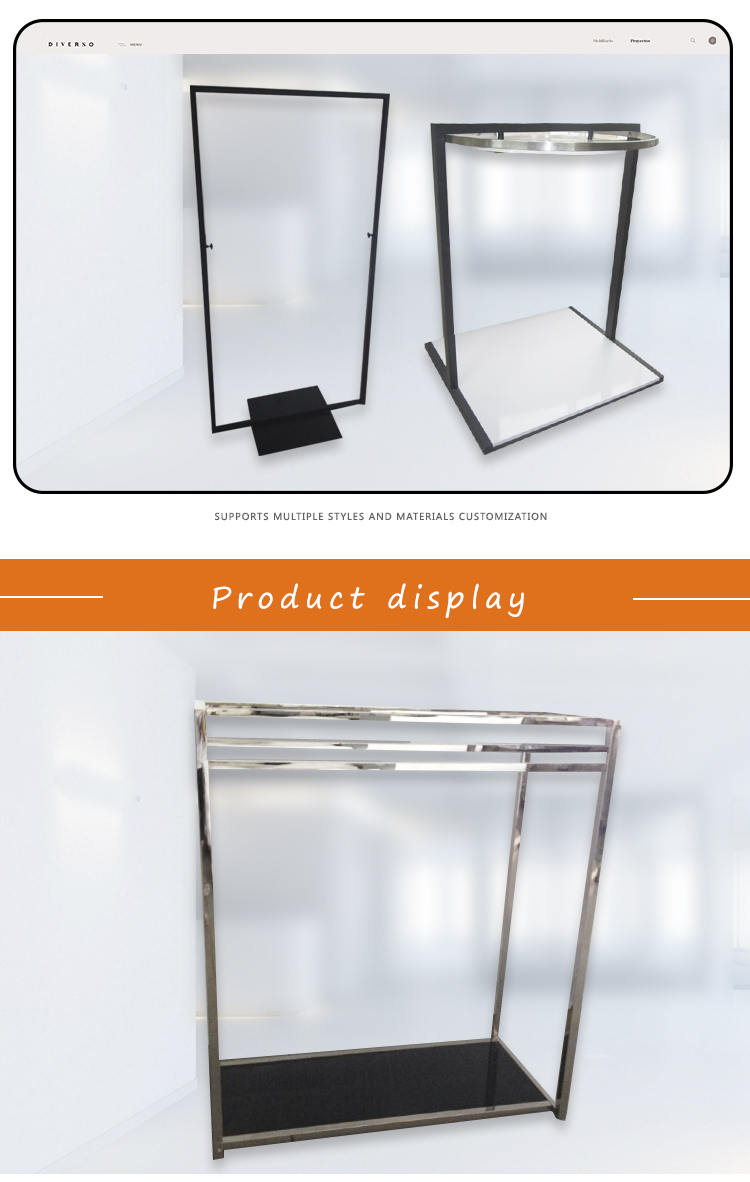 Free standing steel clothes store fixture display metal hanging cloth display rack stand
