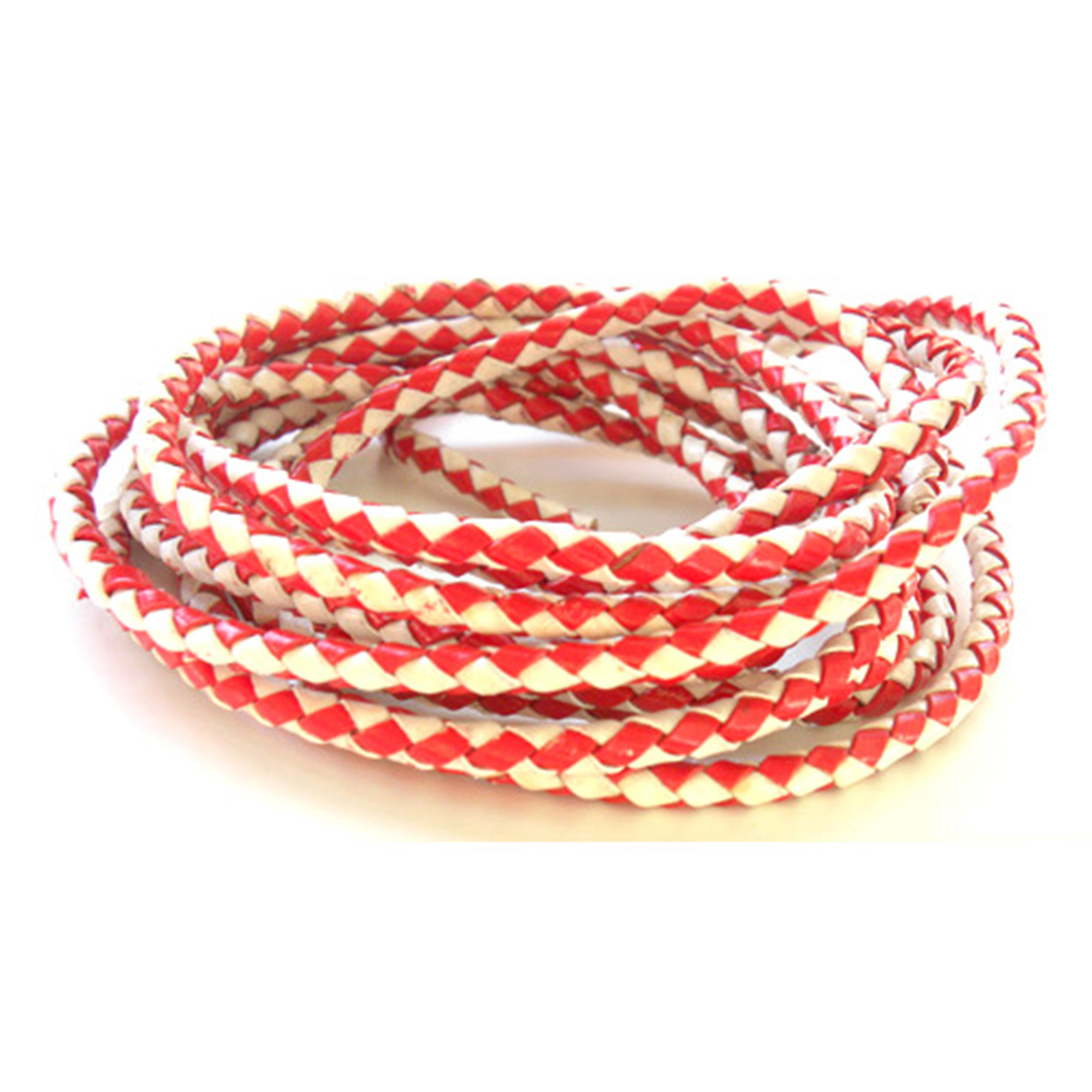 RED AND WHITE ROUND BRAIDED STRINGS