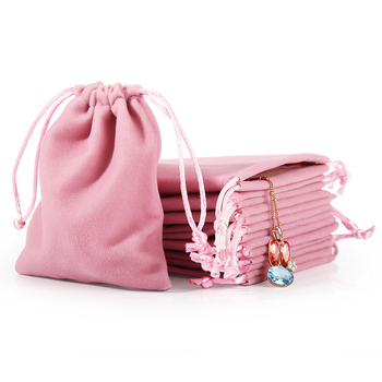 DIGU Wholesale customized high end gift jewelry pouch bags drawstring velvet pink jewelry bag