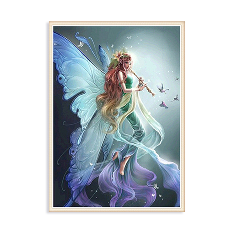 5d Diy Diamond Painting Full Square Round Angel Girl Diamond Embroidery Kits Rhinestone <strong>Picture</strong> for Home