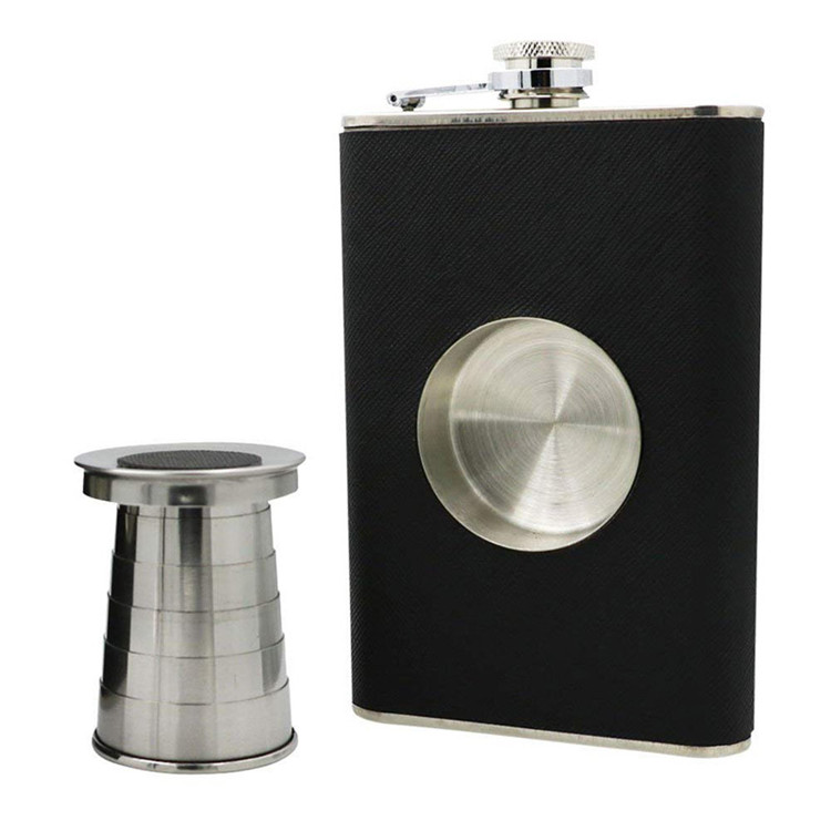 H263 8oz Portable Leather Wrapping Outdoor Creative Whisky Wine Pot With Folding Cup Funnel Stainless Steel Hip Flask