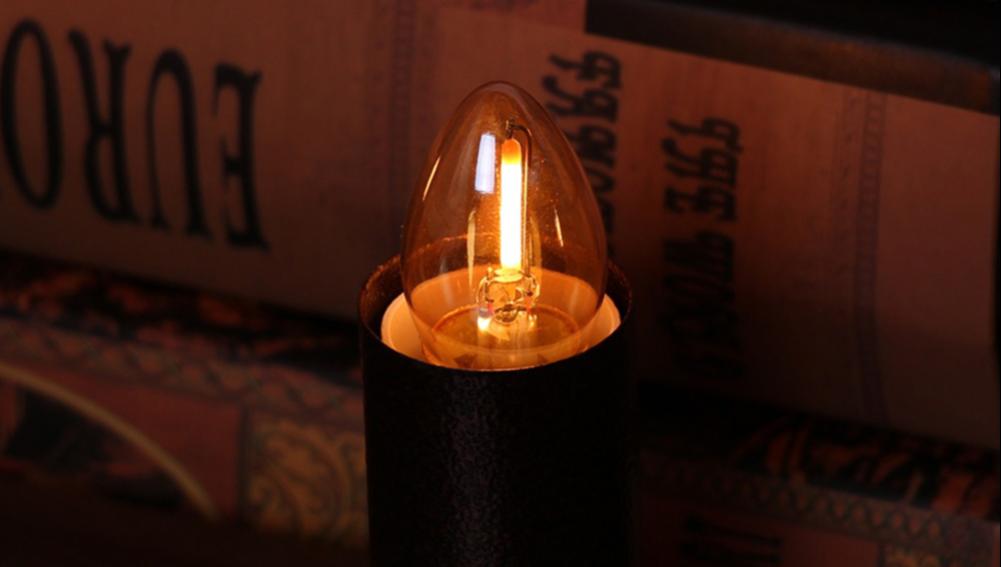C22T bombilla LED 2W de luz lámparas de vela resplandor ámbar lámpara incandescente de E12 E14 candelabros Base Led filamento de la noche lámpara
