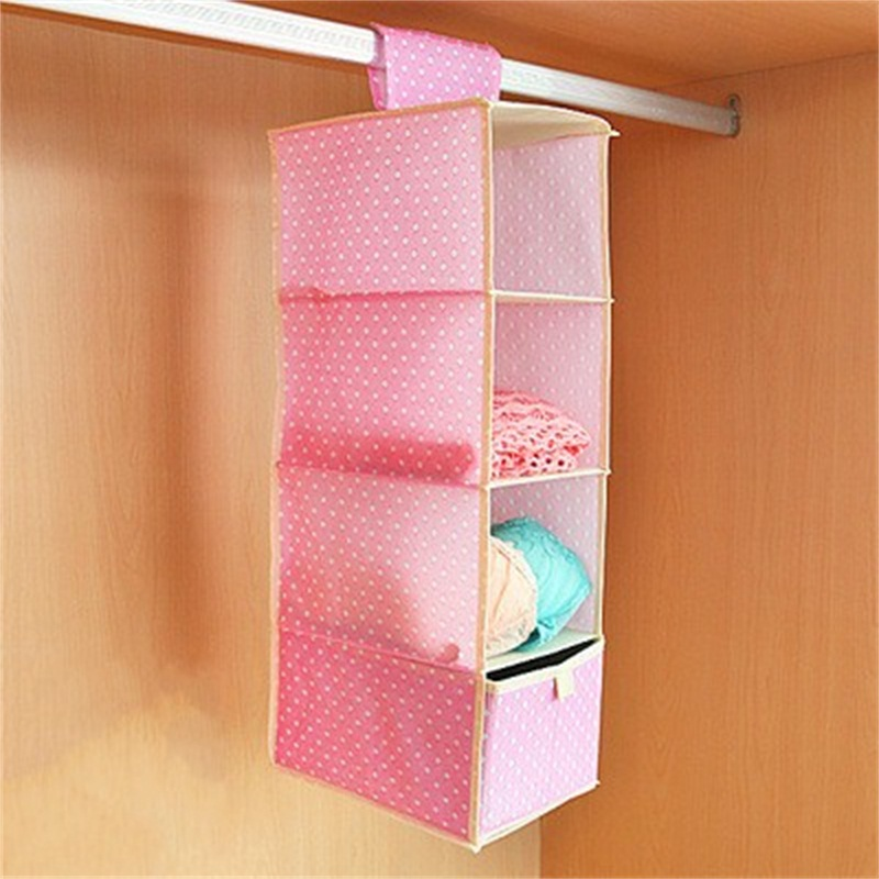 Multi Function Hanging Dormitory Bedroom Admission Multilayer Bags Drawer Style Dot Flower Printing Storage Closet Organizer
