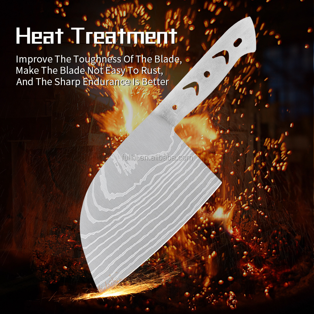 Factory Chopper Knife Blade Blank Stainless Steel Fixed DIV Full Tang Handle 4mm Thick Butcher Knife Blade With Damascus Pattern