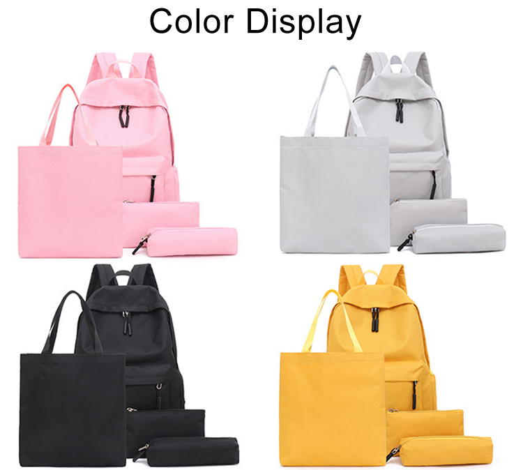Factory direct sale customizable logo pure color casual nylon waterproof four-piece backpack for students