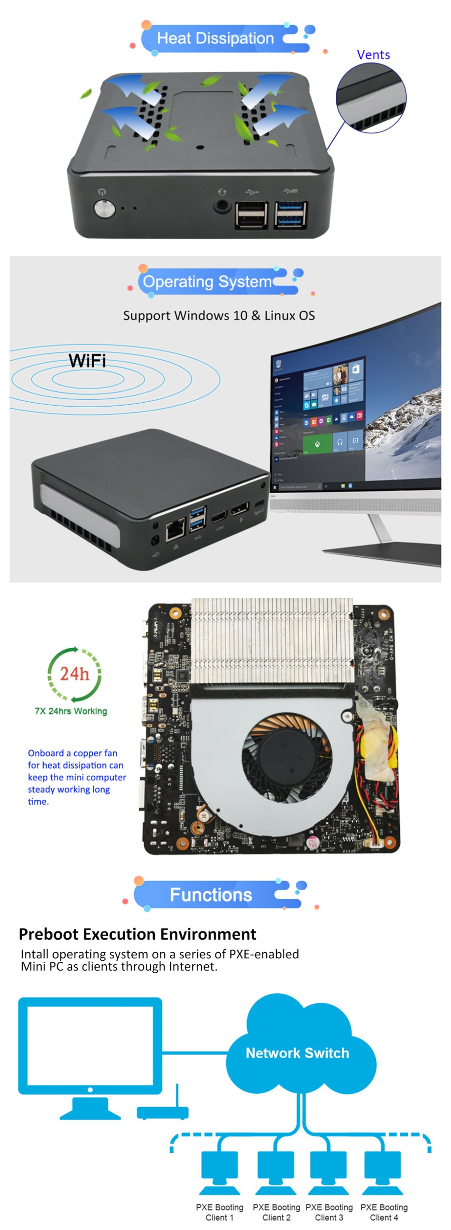 Usine Pc de bureau rapide Win 10 Tower | Mini ordinateur Core I3 8145U I5 8265U 8565U, avec Wifi Pcie, Original