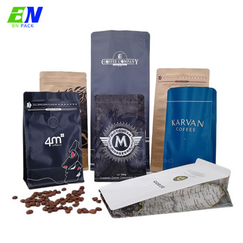 100% Food Grade Certificate Custom Printed Biodegradable Matte Black Tea Bags Pack Coffee With Valve