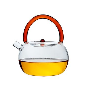 Wholesale Customized Heat Resistant Glass Teapot With Color Handle