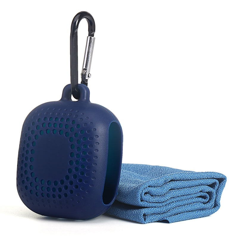 Portable Outdoor Travel Quick Dry Cooling Towel with Silicone Case