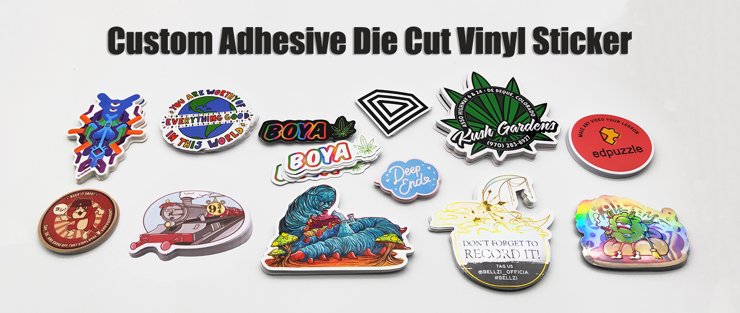 China Manufacture Custom Printing Adhesive Vinyl Die Cut Logo Sticker
